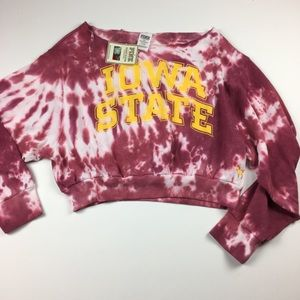 VS Pink Iowa State Tie Dye Crop Sweatshirt